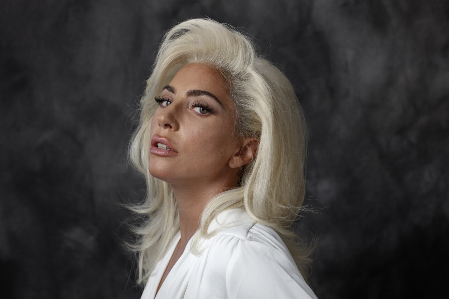 """Pop star and Golden Globe-winning actress Lady Gaga is photographed in advance of her new film, """"A Star Is Born."""""""