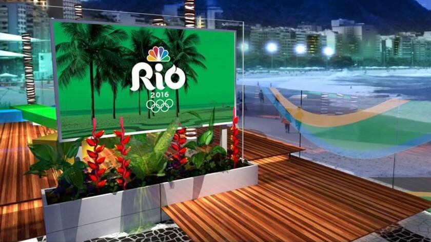 A view from an NBC set at Copacabana Beach in Rio de Janeiro.