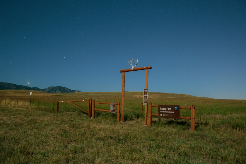 A view of an entrance to the Rocky Flats National Wildlife Refuge from the Candelas development in