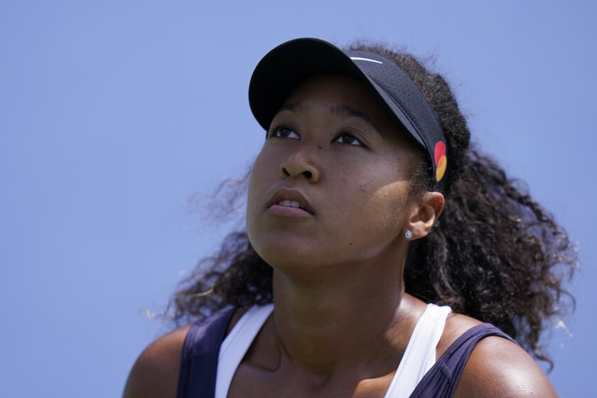 Naomi Osaka on court during a victory over Anett Kontaveit on Wednesday at the Western & Southern Open.