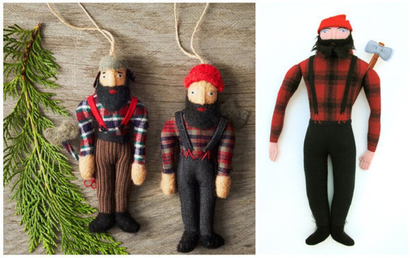 West Elm recently pulled the lumberjack ornaments, left, from its holiday collection after hearing accusations that its supplier, a wholesale gift company, was copying the work of independent artists including Mimi Kirchner, the doll artist who created the lumberjack at right.