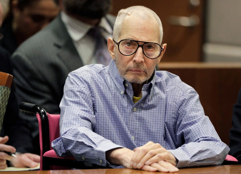 FILE - In this Dec. 21, 2016, file photo, Robert Durst sits in a courtroom in Los Angeles. When opening statements begin Wednesday, March 4, 2020, in Durst's next murder trial, for the killing of his close friend Susan Berman nearly 20 years earlier, Los Angeles County prosecutors will have an even harder case to prove; one that unlike the last almost entirely lacks physical evidence. (AP Photo/Jae C. Hong, Pool, File)