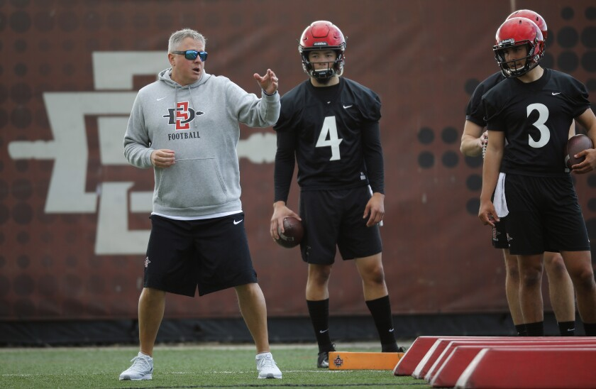 San Diego State offensive coordinator and quarterbacks coach Jeff Hecklinski speaks as quarterbacks Jordon Brookshire (4) and Carson Baker look on during spring practice.