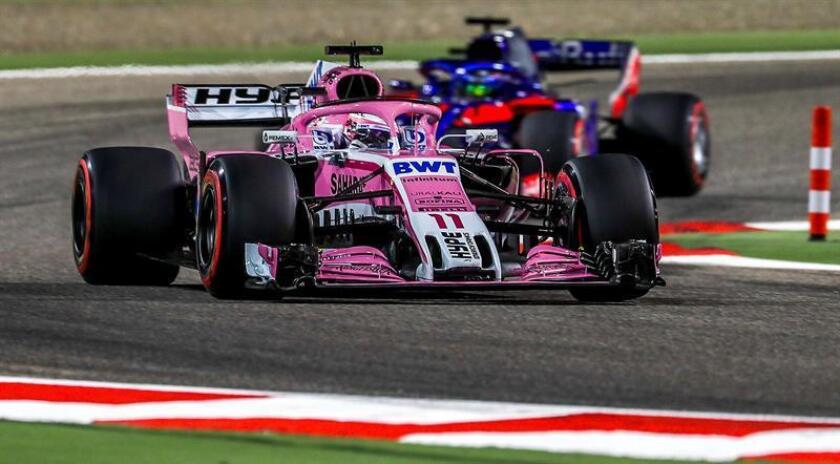 Mexican Formula One driver Sergio Perez of Sahara Force India F1 Team in action during the qualifying session for the 2018 Formula One Grand Prix of Bahrain at the Sakhir circuit near Manama, Bahrain. EFE/EPA