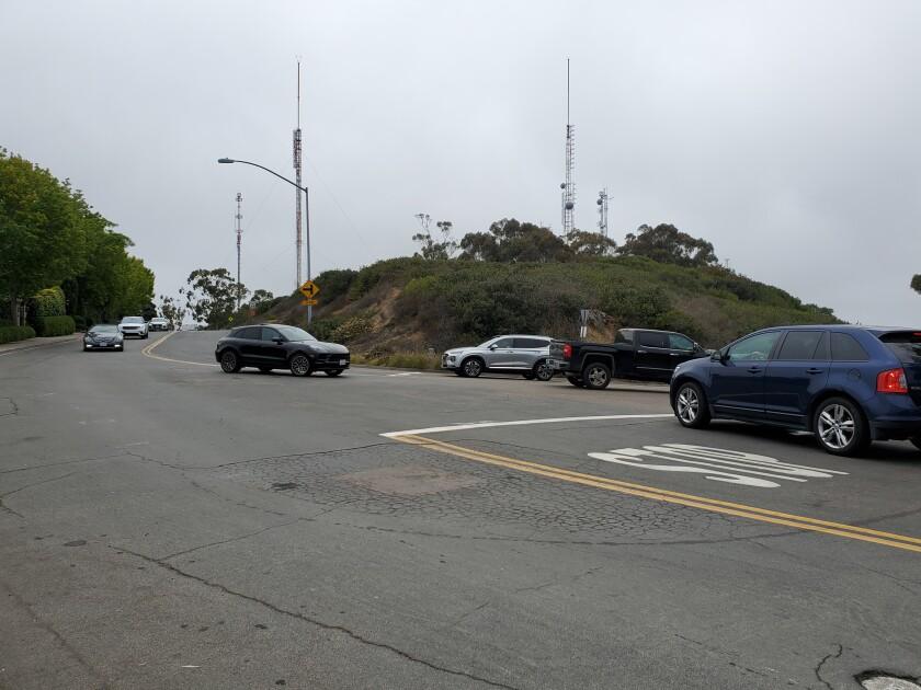 The intersection of La Jolla Scenic Drive South, Via Capri and Soledad Park Road