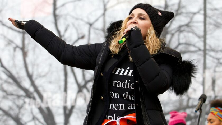 Madonna performs on stage during the Women's March rally in Washington on Jan. 21, 2017.