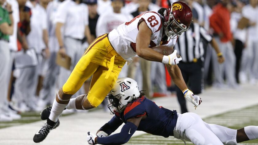 Southern California tight end Josh Falo (83) in the first half during an NCAA college football game