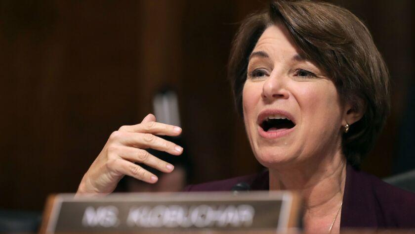 Senate Judiciary Committee member Sen. Amy Klobuchar delivers remarks about Brett Kavanaugh on Sept. 28.