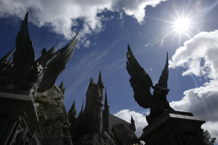 The Hogwarts Castle in The Wizarding World of Harry Potter at Universal Studios Hollywood.