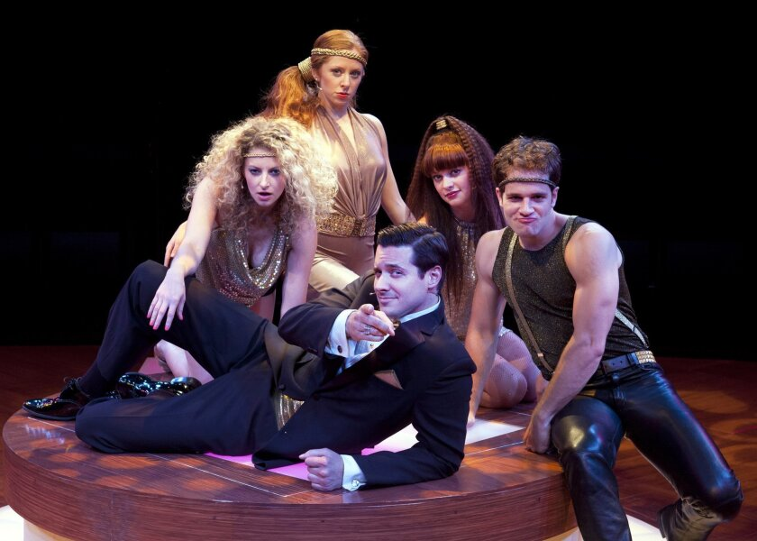 """Heath Calvert as Byron (bottom) with Lauren Molina, Kate Morgan Chadwick, Jenni Barber and Kelsey Kurz in the Old Globe's """"Nobody Loves You."""""""