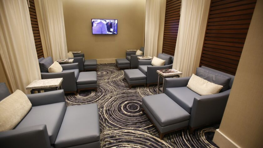 The stylish Spa at Harrah's Resort Southern California features a men's relaxation lounge, as well as a women's and co-ed relaxation room.
