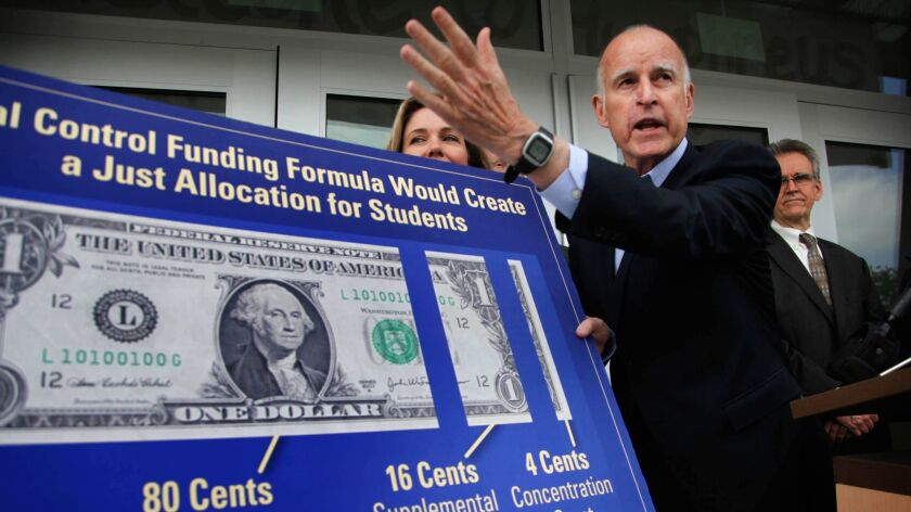 Gov. Jerry Brown at Humphreys Avenue Elementary School in May 2013, calling for action on his school funding plan.