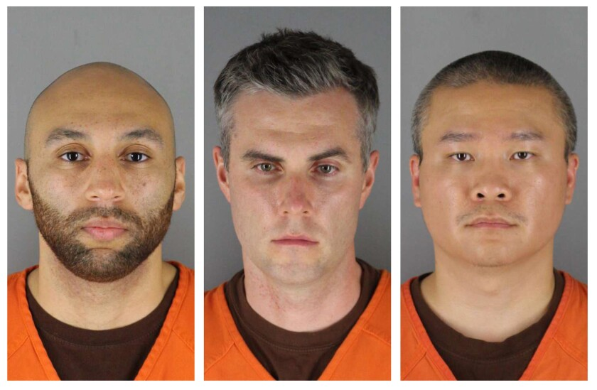 Minneapolis Police Officers Derek Chauvin, from left, J. Alexander Kueng, Thomas Lane and Tou Thao