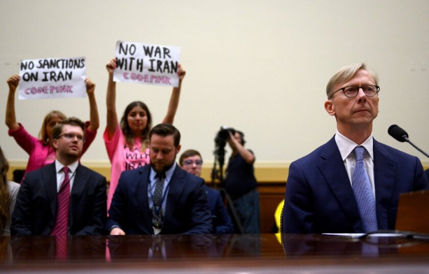 Brian Hook, the US Special Representative for Iran, testifies before a House Foreign Affairs Subcommittee on the Middle East, North Africa, and International Terrorism hearing at the Capitol in Washington, DC on June 19, 2019.