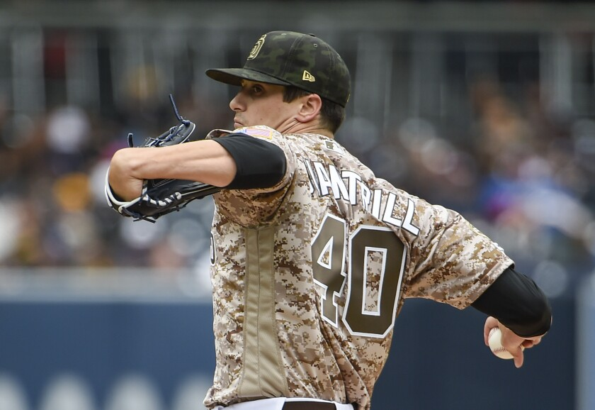 Cal Quantrill pitches against the Pirates during a four-run first inning on Sunday at Petco Park.