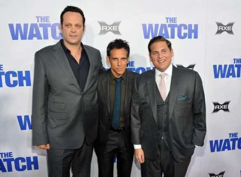 """Vince Vaughn, Ben Stiller, and Jonah Hill arrive at the premiere """"The Watch"""" at Grauman's Chinese Theatre."""