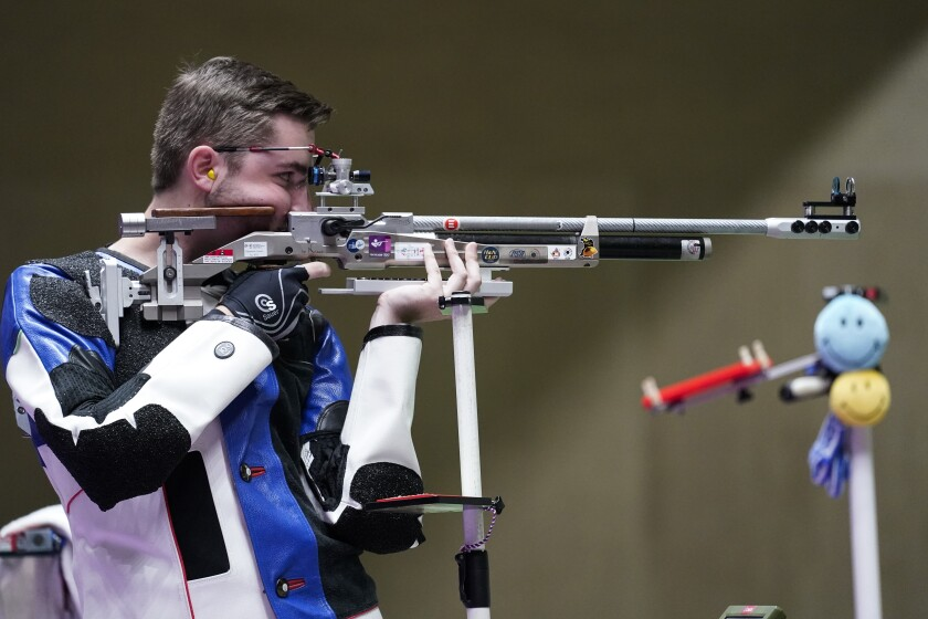 William Shaner, of the United States, competes in the men's 10-meter air rifle at the Asaka Shooting Range in the 2020 Summer Olympics, Sunday, July 25, 2021, in Tokyo, Japan. Shaner went on to take the gold medal. (AP Photo/Alex Brandon)