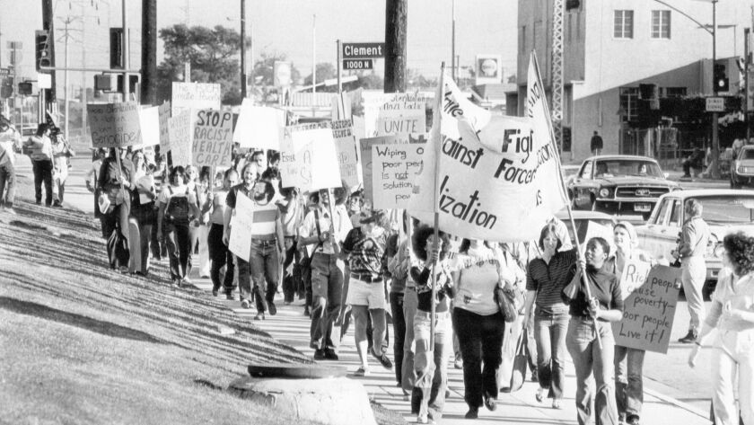 1974 staff file photo of protestors at the County USC Medical Center. The protest was orgainized by