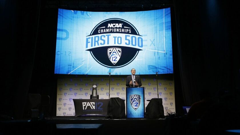 Commissioner Larry Scott at Pac-12 Football Media Day in the Ray Dolby Ballroom at Hollywood & Highland Center on Wednesday.