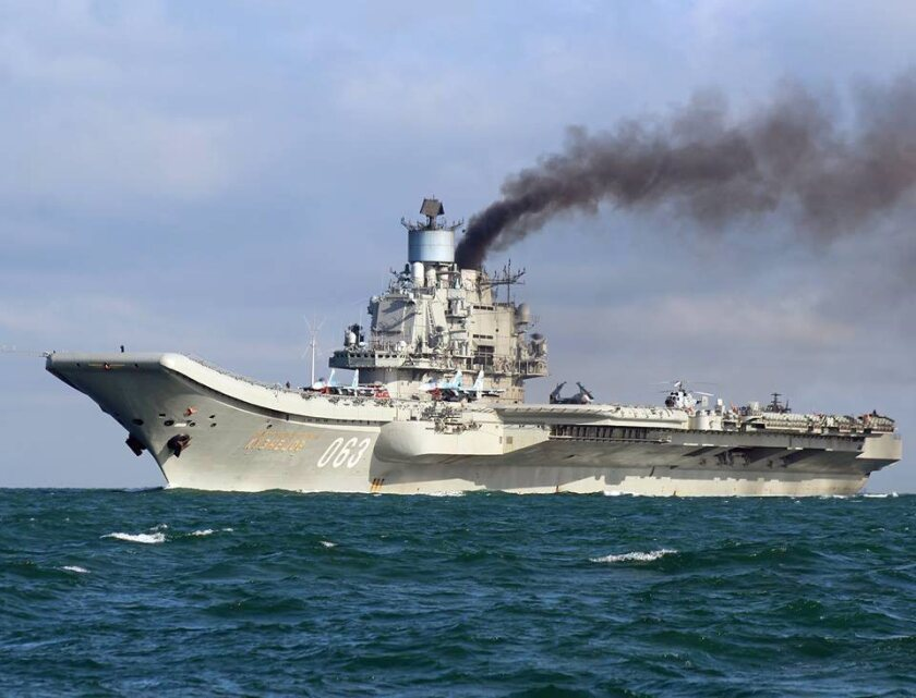 A handout photograph made available by Dover Marina.com on Oct. 21, 2016, shows Russian aircraft carrier Admiral Kuznetsov in the English Channel.