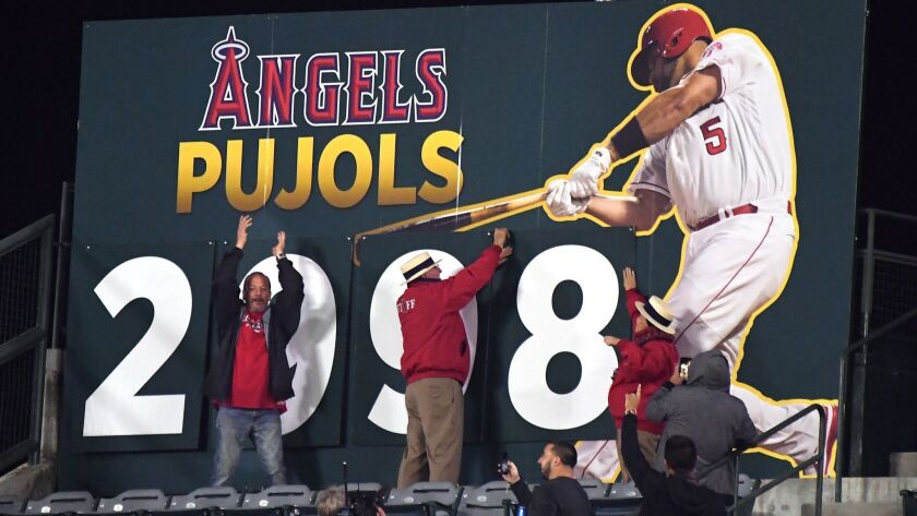 ANAHEIM, CALIFORNIA MAY 2, 2018-The hit count changes after Angels Albert Pujols hit a double aginst