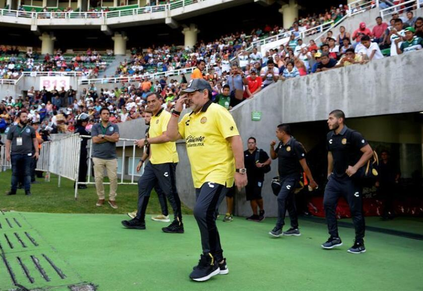 Argentine coach Dorados de Sinaloa Diego Armando Maradona on Oct. 6, 2018 at the Coruco Diaz stadium in Zacatepec, Morelos Mexico. EPA-EFE/Tony Rivera