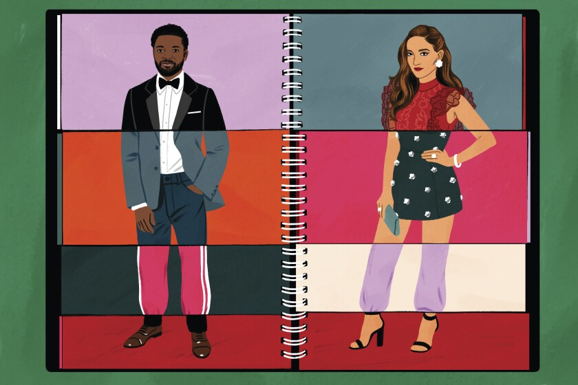 A flipbook-style illustraton of two people dressed for the Emmy Awards.