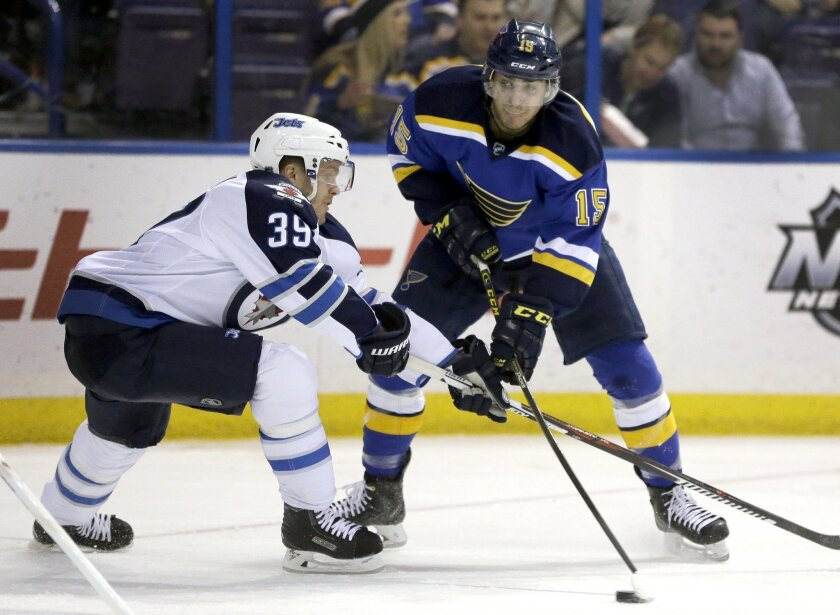 St. Louis Blues' Robby Fabbri, right, passes the puck as Winnipeg Jets' Toby Enstrom, of Sweden, defends during the second period of an NHL hockey game Tuesday, Feb. 9, 2016, in St. Louis. (AP Photo/Jeff Roberson)