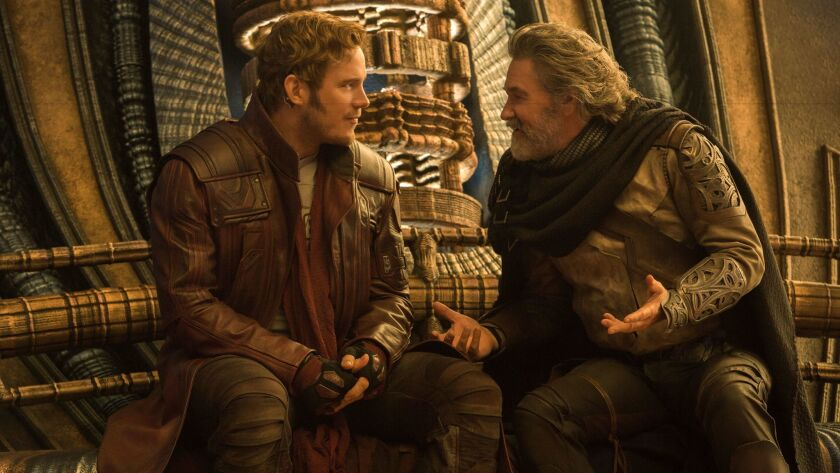 "Chris Pratt, left, as Peter Quill and Kurt Russell as Ego in ""Guardians of the Galaxy Vol. 2."""