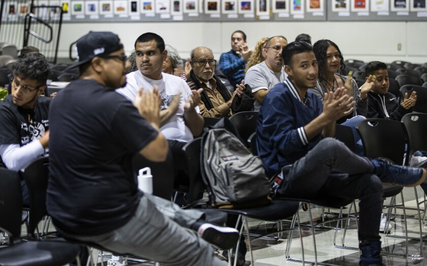 LOS ANGELES, CA - MAY 24, 2019:Young and older members of the Mexican American student organization