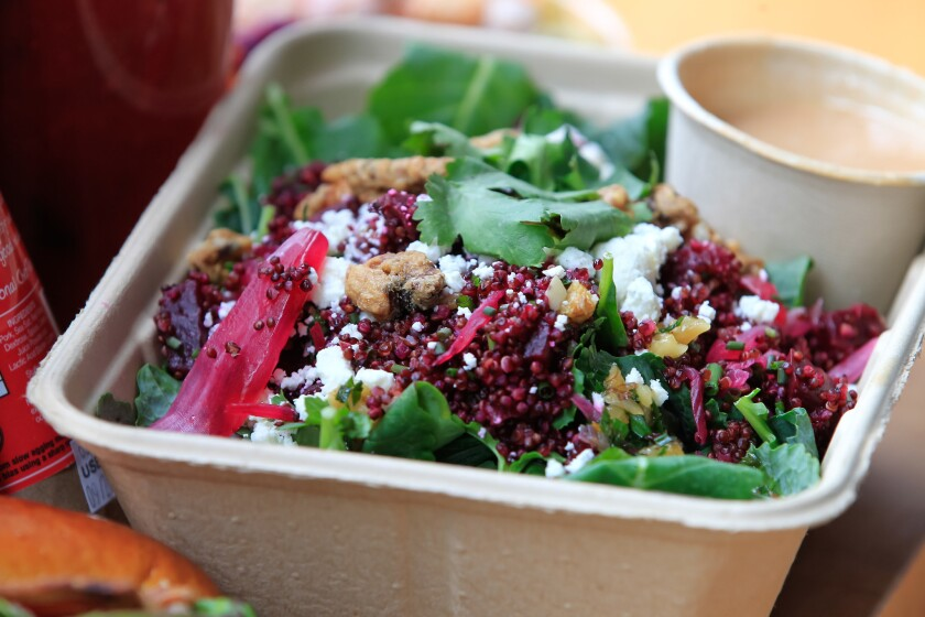 Beet and Humboldt Fog Salad by celebrity chef Brian Malarkey for putting together a nice picnic lunch at his Herb and Eatery market in Little Italy. (Eduardo Contreras/Union-Tribune)