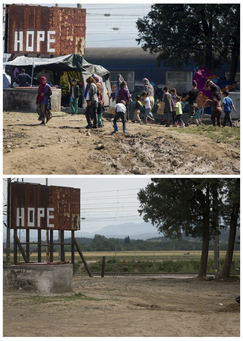 Two picture combo, top shows a group of migrants moving though the makeshift camp in Idomeni, Greece, Monday, May 23, 2016.  Bottom photo shows the same location on Sunday, May 29, 2016, after the camp was evacuated. Once home to more than 14,000 refugees and migrants, the makeshift camp at Greece'