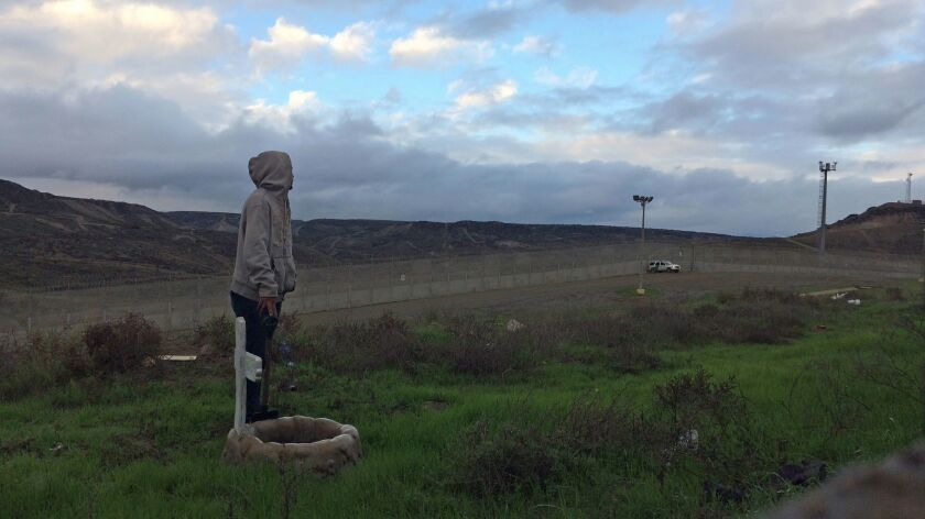 """Fernando Arias arranged the sculpture """"Libertad' on the U.S. side of the border as part of a performance organized by Chim Pom."""
