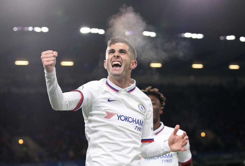 Christian Pulisic celebrates after scoring one of his three goals for Chelsea on Oct. 26, 2019, in Burnley.