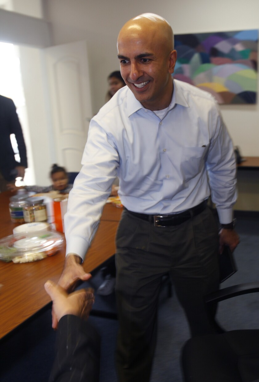 Neel Kashkari announced Tuesday he will seek the GOP nomination for governor of California. Above, Kashkari visits a charitable foundation in Stanton, Calif., last fall.