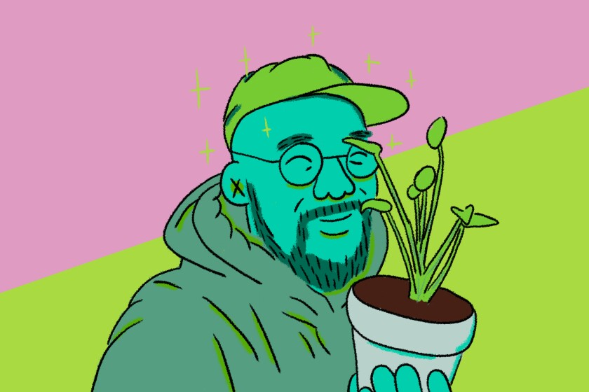 An illustration of L.A. music producer Mark Redito and a houseplant