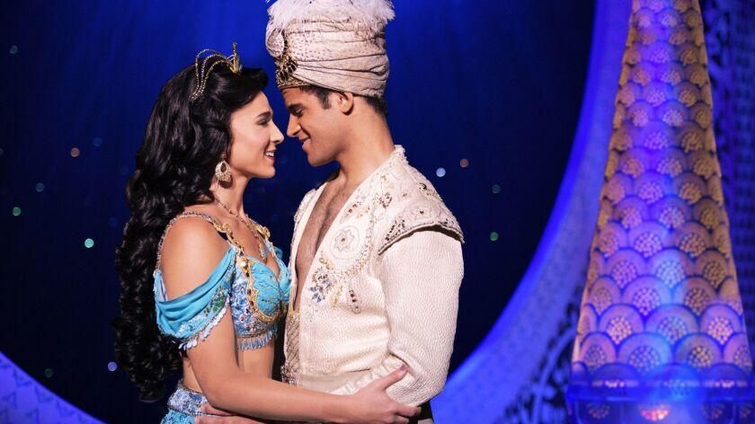 "Lissa deGuzman (Jasmine) and Clinton Greenspan (Aladdin) in Segerstrom's production of ""Aladdin,"" which runs in Costa Mesa through March 23."