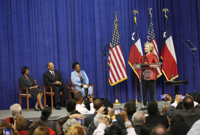 Hillary Clinton speaks at the Inaugural Barbara Jordan Gold Medallion Awards at Texas Southern University in Houston on June 4.