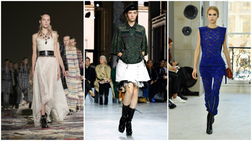 Lace on the runway at, left to right, Alexander McQueen, Sacai and Louis Vuitton.