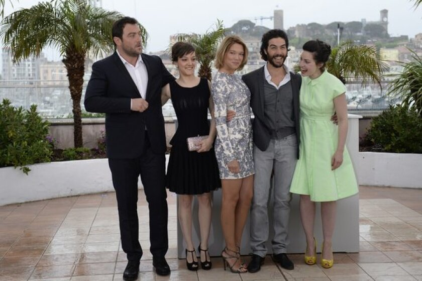 From right, French director Rebecca Zlotowski and actors Tahar Rahim, Lea Seydoux, Camille Lellouche and Denis Menochet.