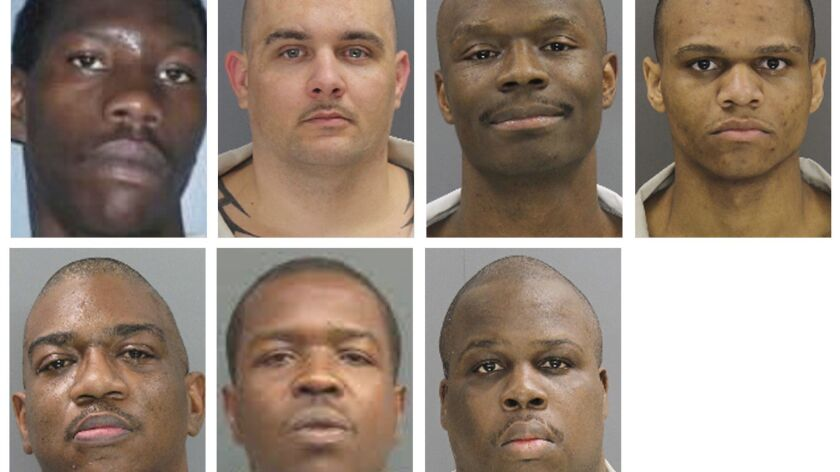 These undated photos provided by the South Carolina Department of Corrections shows, from top row fr