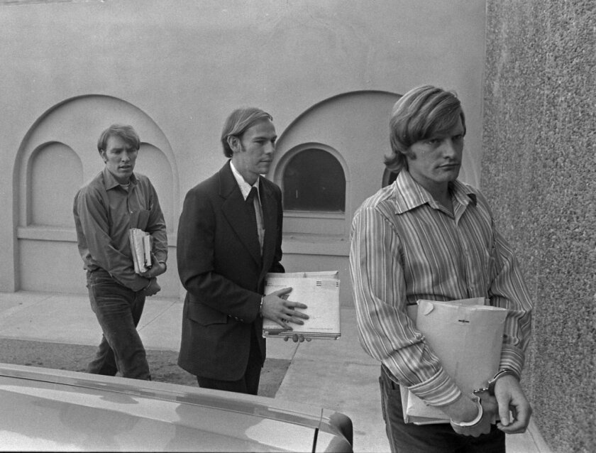 Chowchilla bus kidnappers James Schoenfeld, left, Fred N. Woods and Richard Schoenfeld arrive in court in Madera, Calif., in 1976.