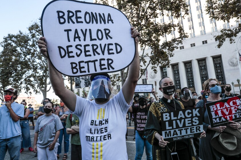 Hundreds gather in downtown Los Angeles for a Black Lives Matter demonstration