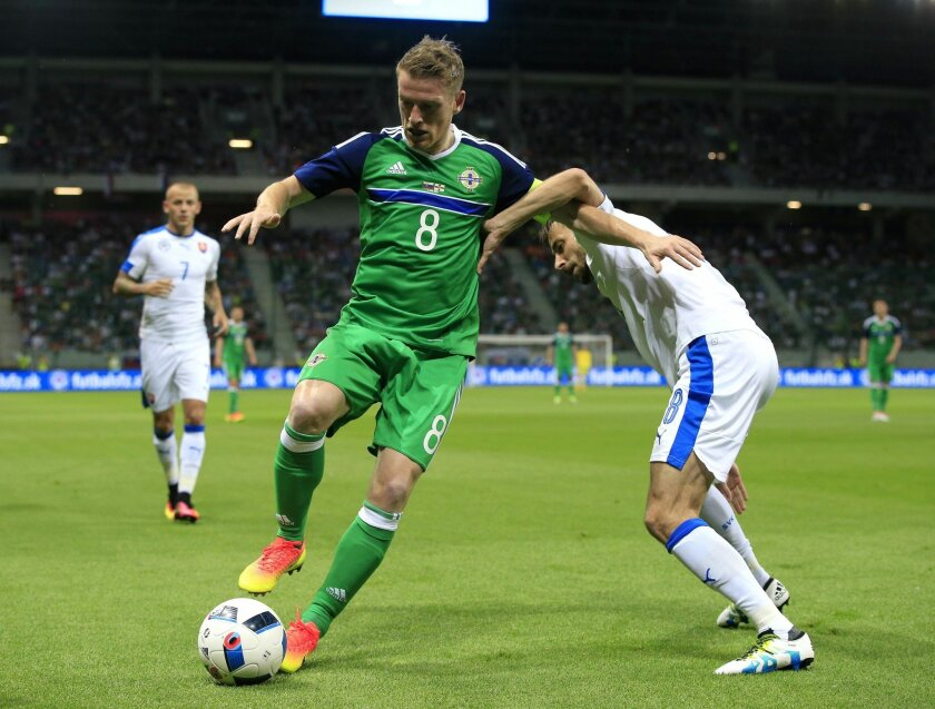 Northern Ireland's Steven Davis, left, and Slovakia's Dusan Svento battle for the ball during their International Friendly soccer match at the Antona Malatinskeho Stadium, Trnava, Slovakia, Saturday, June 4, 2016. (Jonathan Brady/PA via AP) UNITED KINGDOM OUT
