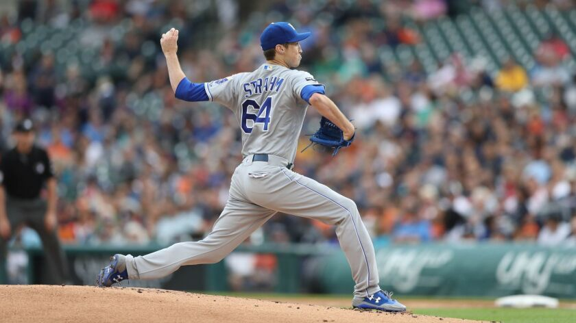 Royals starting pitcher Matt Strahm works against the Detroit Tigers on Tuesday, June 27, 2017, at Comerica Park in Detroit.