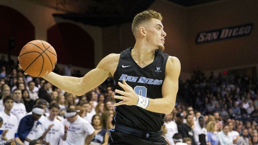 USD's Isaiah Pineiro (shown in an earlier game this season) matched his USD career high with 23 points Thursday night against Pacific.