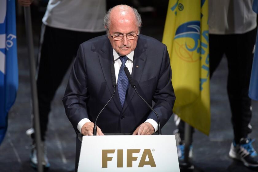 El presidente de la FIFA, Sepp Blatter, hablando durante la inauguración del Congreso en Zúrich.