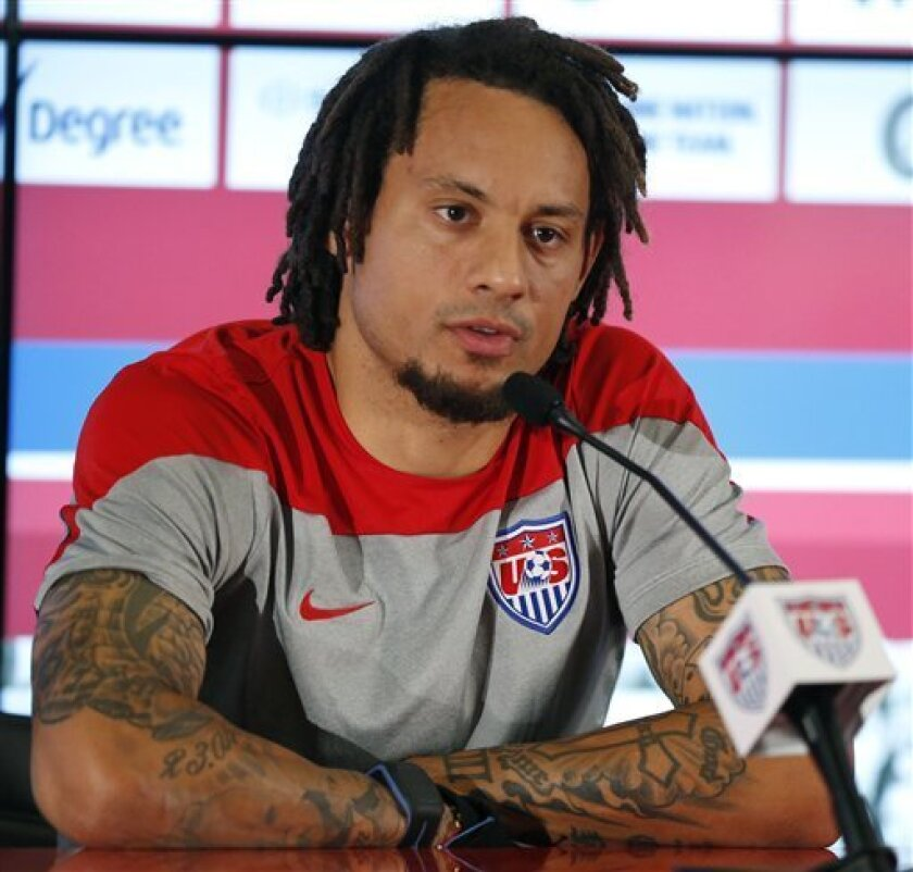 Jermaine Jones talks during a news conference before a U.S. national team training session in Sao Paulo, Brazil, on June 19, 2014.