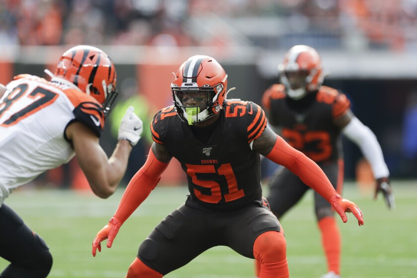 Cleveland Browns linebacker Mack Wilson (51) plays against the Cincinnati Bengals during the first half of an NFL football game, Sunday, Dec. 8, 2019, in Cleveland. Ravaged by injuries during training camp, Cleveland welcomed back starting linebacker Mack Wilson and Greedy Williams on Monday, Sept. 21, 2020, as the Browns began getting ready for this week's game against the Washington Football Team. (AP Photo/Ron Schwane, File)