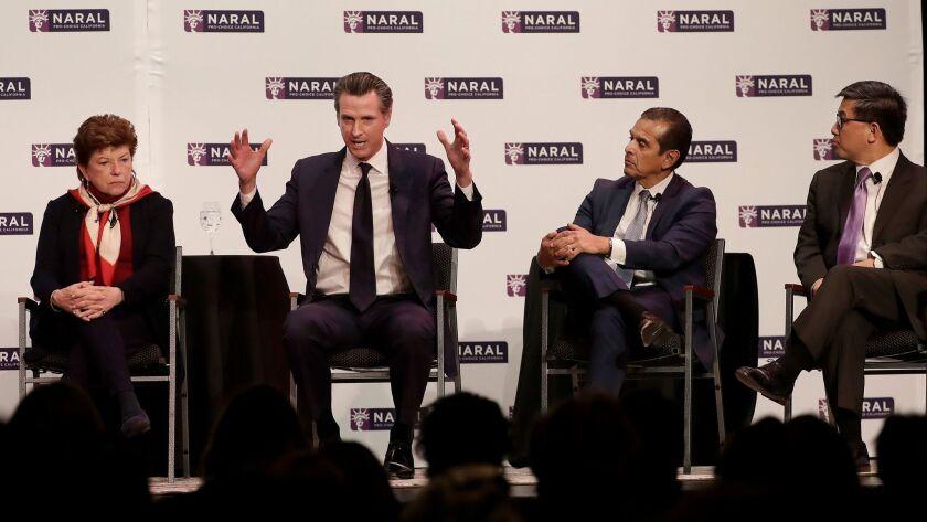 Democratic Candidates for California Governor Delaine Eastin, from left, Gavin Newsom, Antonio Villa